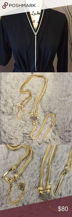 Kendra Scott Starla Y necklace Beautiful Kendra Scott Starla Y necklace. Yellow gold chain and gray druzy stone. NWOT Kendra Scott Jewelry Necklaces