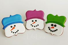 Snowman Cookies using Fancy Square Cookie Cutter