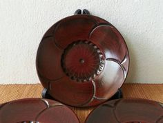 Japanese 5 Lacquered Wooden Tea Cup Saucers Plum Flower Carved, Chataku Tea Ceremony Sencha Gyokuro Green Tea