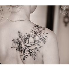 For Anna #rose #flowerstattoo #plants #blacktattoo #blackworkerssubmission…