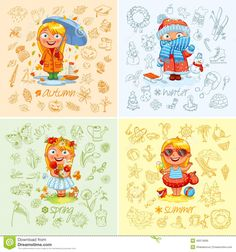 Vector Illustration of Seasons, Spring, Summer, Autumn, Winter vecteur images Different Seasons, Four Seasons, Free Vector Art, Free Vector Images, Snowman Images, Winter Springs, Autumn Activities, Worksheets For Kids, Free Baby Stuff