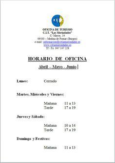 Horario CIT. Medina de Pomar Abril-Mayo-Junio