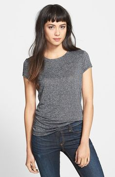 Long dark hair with subtle choppy, subtle baby bangs. Cut an inch above brows from a triangular section at the crown. Heart or boxy face shape, high forehead. rag & bone/JEAN 'The Classic' Cotton Tee