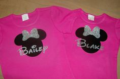 Girls Minnie Mouse Glitter Shirts Personalized by YounInkBoutique, $19.00
