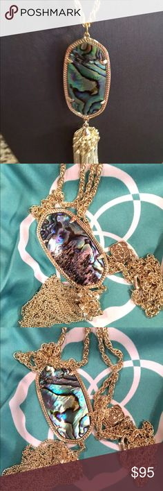 Kendra Scott Abalone Shell Rayne Necklace Kendra Scott Rayne Necklace In Abalone Shell & Gold NWOT I usually list NWOT simply because they fall off, almost all of my items a brand new unless specifically noted.  Includes Pouch 