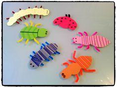 bricolage enfant, insectes en papier et cure pipe, automne, printemps