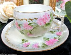 GERMANY GERMAN TEACUP ARTIST SIGNED TEA CUP AND SAUCER DUO ROSES