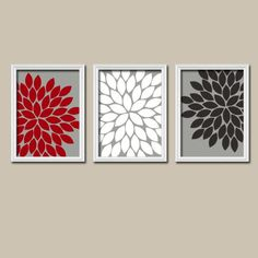 Red White Black Grey Charcoal Flower Burst Gerbera Daisies Artwork Set of 3 Trio Prints Wall Decor Abstract Art Picture Silhouette- Pretty for somewhere in the apt