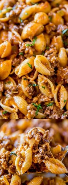 This Cheesy Taco Pasta from Dinner Then Dessert tastes like the Hamburger Helper you used to eat as a kid, but much, much better! The gooey gooey meat and cheese has a few extra secret ingredients that make it extra yummy!