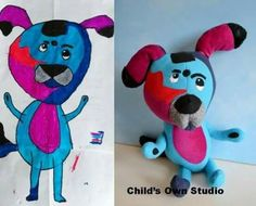 Toys stitched from children's drawings