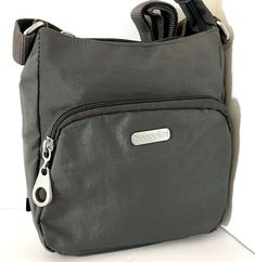 New Baggallini Small Crossbody Shoulder Bag Gray Nylon Top Zip Front Pouch