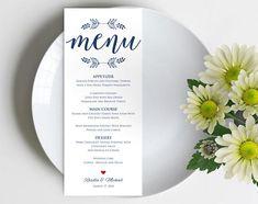 Navy Blue Printable Menu Card Template Editable Text Instant Thank You Printable, Printable Menu, Thank You Tags, Thank You Gifts, Rustic Wedding Menu, Wedding Dinner Menu, Vow Renewal Invitations, Kraft Wedding Invitations, Menu Card Template