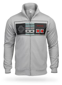 Nintendo Controller Track Jacket. Wow. Where can I get one? Nintendo Controller, Retro Videos, Geek Chic, Cool Tees, How To Look Pretty, Motorcycle Jacket, Geek Stuff, My Style, Sweatshirts