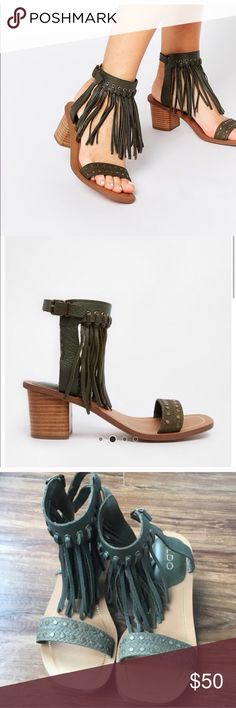 "ASOS ""Cayley"" fringe ankle sandals. Like new sz7.5 Really excellent condition and adorable shoes! Sold out everywhere. Army green color ASOS Shoes Sandals"