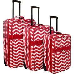 World Traveler Chevron 3-Piece Expandable Upright Luggage Set ($158) ❤ liked on Polyvore featuring bags, luggage, luggage sets and red
