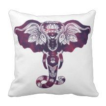 Purple Red Tribal Henna Elephant Throw Pillow