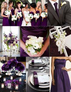 Purple wedding Inspiration - purple bridesmaids dress and centerpieces, white bouquet, grey tux