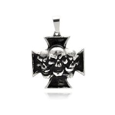 Cross with skull center stainless steel pendant