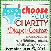 Enter to win!  The Choose Your Charity Event, hosted by Thinking About Cloth Diapers, brings awareness to cloth diaper banks and other lending organizations that provide cloth diapers to families in need.  Win diapers for yourself and your favorite cloth diaper charity - event closes November 25, 2013.