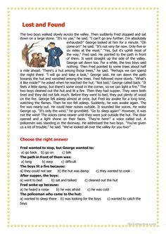 Lost & Found worksheet - Free ESL printable worksheets made by teachers Teaching English Grammar, English Writing Skills, English Reading, English Lessons, Reading Comprehension Worksheets, Reading Fluency, Reading Passages, Reading Test, Reading Skills