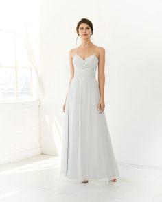 Colour #5317L - Floor length. Chiffon a-line dress with a slight V-neckline and spaghetti straps.