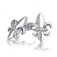 Bling Jewelry 925 Sterling Silver CZ Fleur De Lis Earrings >>> Be sure to check out this awesome product. (This is an affiliate link) #Earrings