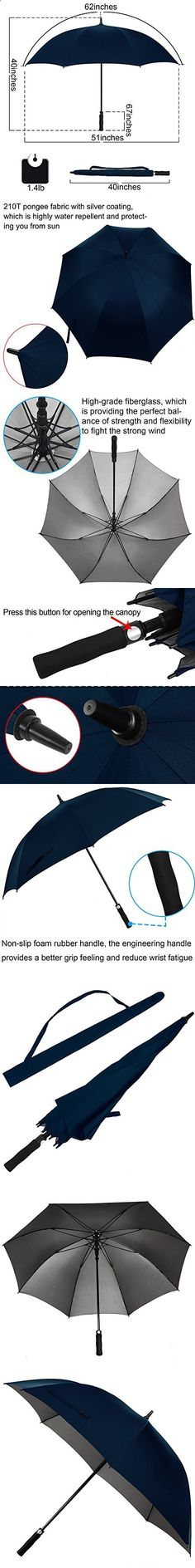Rainlax 62 inch Oversize Canopy Automatic Open Large Outdoor Windproof Golf Umbrella 210T Teflon RainWind Repellent UPF 50  Sun Protection Umbrellas (Navy Blue)