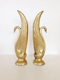 Vintage Hollywood Regency Brass Swan Bookends by AnthologyHouse