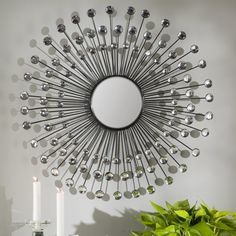 Trending now Estrela Modern Sunburst Metal Wall Mirror by Willa Arlo Interiors Sunburst Mirror, Round Wall Mirror, Mirror Set, Dresser With Mirror, Sun Mirror, Mirror Room, Wallpaper Roll, Peel And Stick Wallpaper, Consoles