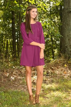 Far From Basic Dress-Plum - Under $50.00 Dresses - All Dresses | The Red Dress Boutique