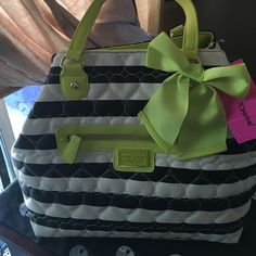 Betsy Johnson bag!!  Gorgeous Betsy Johnson large satchel!! Neon yellow hearts embellished with black & white stripes!! An awesome bag brand new!! Betsey Johnson Bags Shoulder Bags