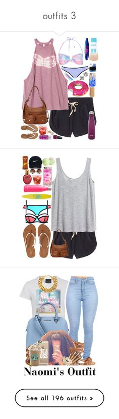 """""""outfits 3"""" by jada-aphrodite ❤ liked on Polyvore featuring Victoria's Secret, RVCA, Monsoon, River Island, Maybelline, Goody, Ampere Creations, Big Mouth, MICHAEL Michael Kors and S'well"""