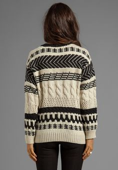 CUT25 Arrow Cable Chunky Sweater in Parchment/Off-White - Sweaters & Knits