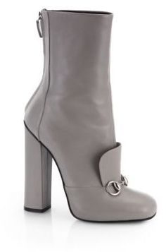 $770, Grey Leather Ankle Boots: Gucci Lillian Horsebit Leather Ankle Boots. Sold by Saks Fifth Avenue. Click for more info: http://lookastic.com/women/shop_items/107421/redirect