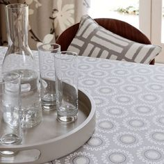 Astrid is a bright, contemporary collection of cotton fabric from Clarke & Clarke, offering five beautiful designs for curtains, cushions and blinds Grey Tablecloths, Clarke And Clarke Fabric, Contemporary Fabric, Circular Pattern, Roman Blinds, Pattern And Decoration, Upholstery, Shabby Chic, Cushions