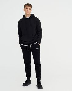 Pull&Bear - παντελόνι jogging με λογότυπο pull&bear - μαυρο - 09681520-V2018
