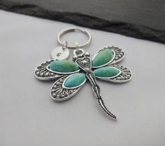 Dragonfly Keyring Initial Dragonfly Keyring Hand Stamped