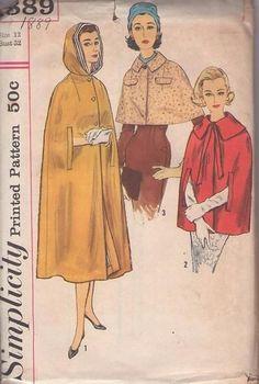 MOMSPatterns Vintage Sewing Patterns - Simplicity 1889 Vintage 50's Sewing Pattern CLANDESTINE Chic Wide Collared Cape, Capelet, Arm Slits Cloak, Hooded Cloak Set Size 12