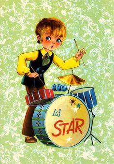 Vintage 70s big eye doll card. Unused. Mod boy is playing the drums