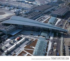 Copenhagen airport in Denmark is shaped like a paper airplane