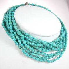 DESIGNER Turquoise Beaded Multi Strand Layered Silver Plated Choker Necklace at www.ShopLindasStuff.com