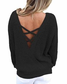New ZKESS Women Loose Round Neck V Criss Cross Backless Long Sleeve Knit  Pullover Sweater Jumper Tops online.  14a23f7b3