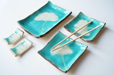 Sushi Serving Set, Ginko Leaf Decor, Turquoise Set for 2,  Sushi Set, Ceramic Sushi Plates, Housewares, Ceramics and Pottery