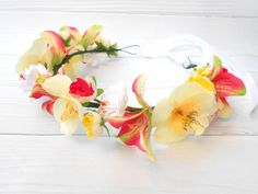 Tropical flower crown Beach wedding flower headpiece Floral headband flower girl Orchid head piece F Flower Headpiece Wedding, Beach Wedding Flowers, Floral Headpiece, Floral Wedding, Hawaiian Flower Crown, Head Piece, Floral Headbands, Floral Crown, Tropical Flowers