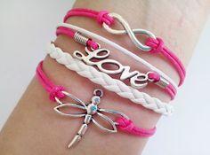 Love bracelet infinity bracelet Dragonfly bracelet Sweet bracelet Pink bracelet Sweet love Best Gift for Girlfriend