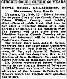 Prince William County Genealogy: Sunday's Obituary: Edwin Nelson, Circuit Court Clerk #genealogy #familyhistory