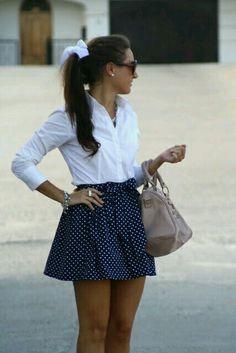 Polka dot skirt just ties everything together