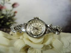 ELGIN Watch, Mechanical Watch, 10K RPG White Gold Watch, Diamond Watch, Ladies Diamond Watch, Women's Wristwatch, Wrist Watch, Vintage Watch by CarolsVintageJewelry on Etsy