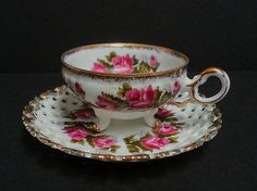 Vintage White Rose Tea Cup Lace Effect Saucer Gold Trim Footed Cup Fairy Gardens