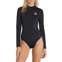 Women's Billabong Reissue Long Sleeve One-Piece Swimsuit (345 MYR) ❤ liked on Polyvore featuring swimwear, one-piece swimsuits, black pebble, sporty swimsuits, billabong swimsuits, billabong one piece swimsuit, rashguard swimwear and 1 piece bathing suits